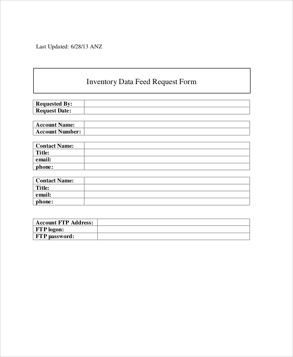 inventory data feed request form