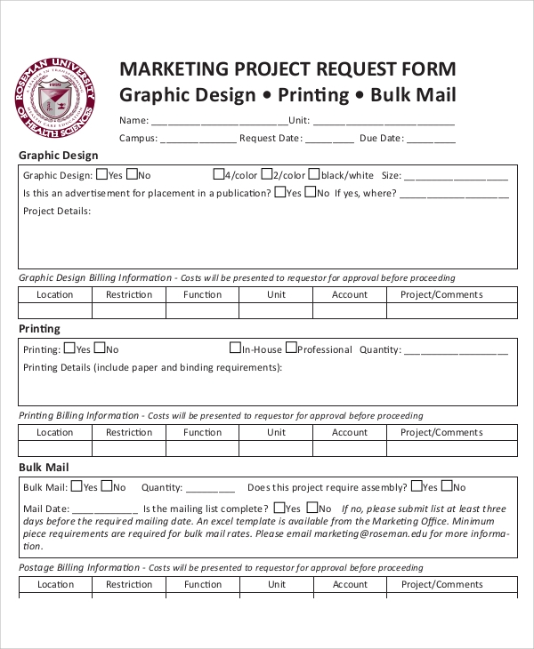 marketing project request form