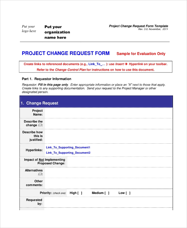 project change request form