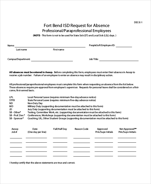 Absence Request Form Free Doctor Note Excuse Templates Template Lab