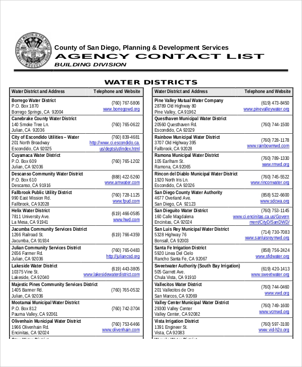 agency contact list example