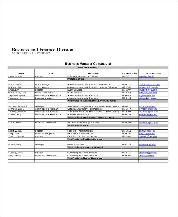 business manger contact list