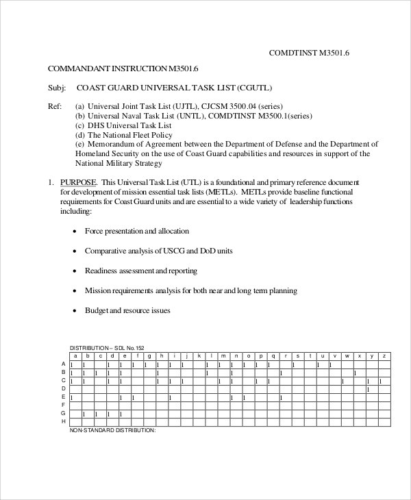 universal task list pdf
