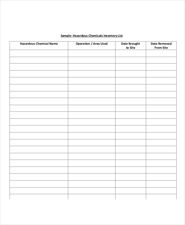 Inventory List Sample 9 Examples in Word PDF – Sample Inventory List