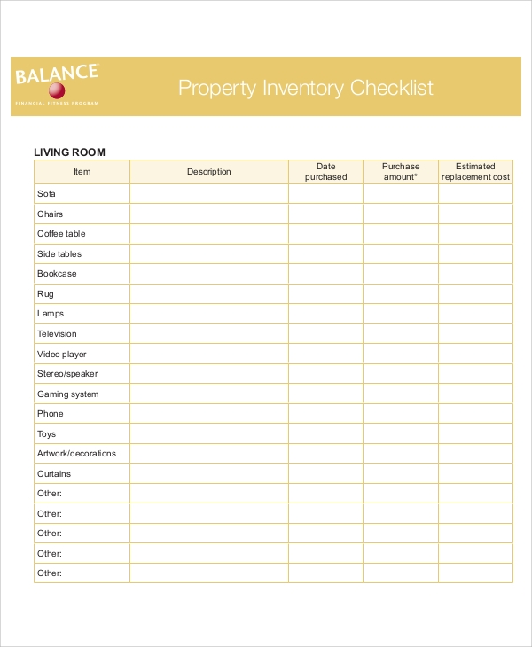 property inventory list