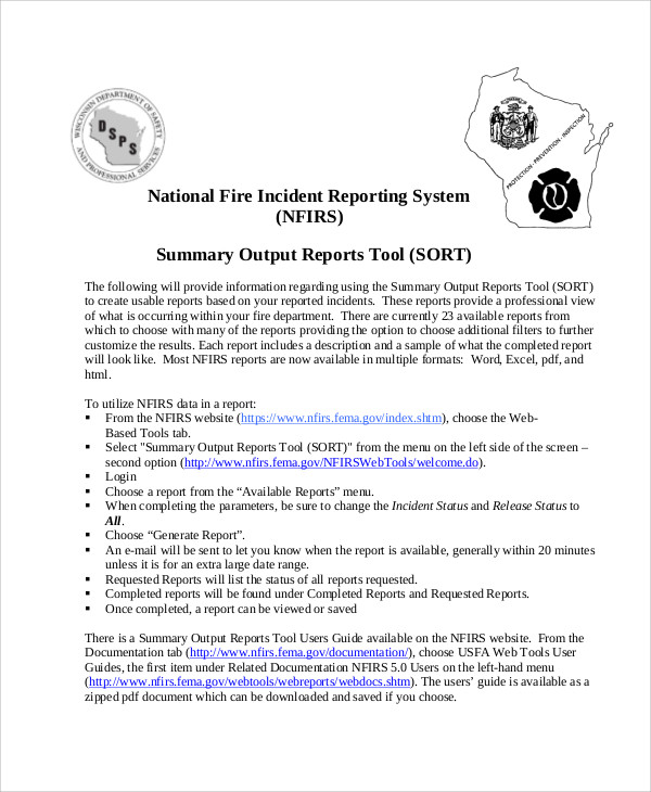 12  sample fire incident reports
