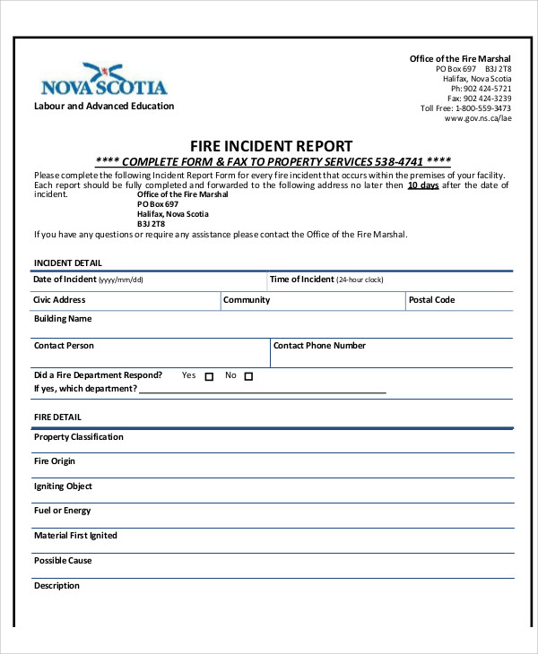 Sample Fire Incident Report 7 Examples in PDF Word – Sample Incident Report Form