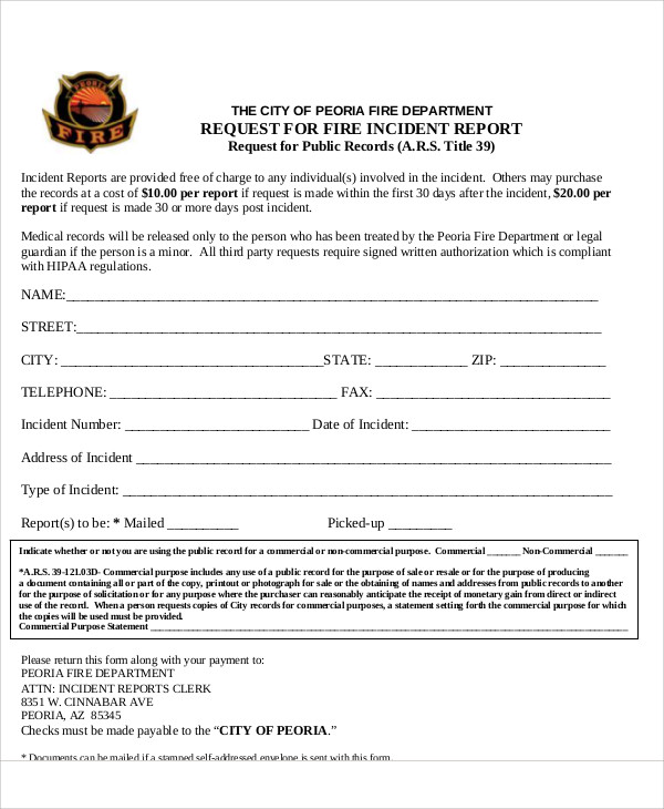 fire incident report request form