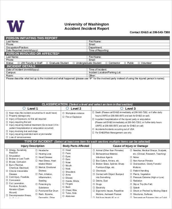 Sample Accident Incident Report   Examples In Pdf Word