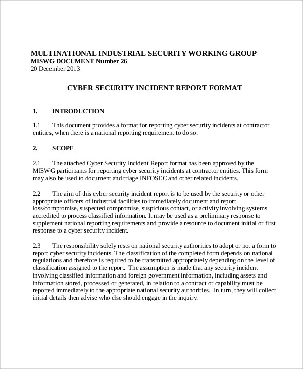 Sample Security Incident Report   Examples In Pdf Word