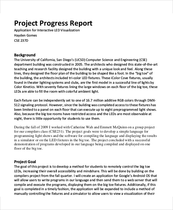 Project Progress Report Example  Progress Report Template For Students