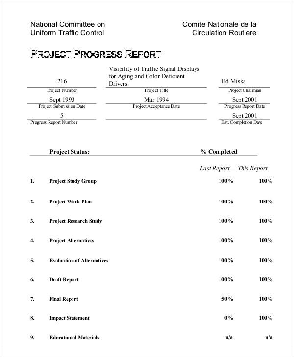 project progress report example2