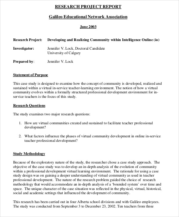 research project report sample