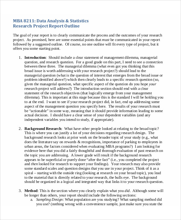 Sample Research Project Report   Examples In Pdf Word