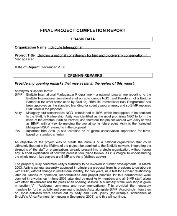 10+ sample project completion reports pdf, excel word.