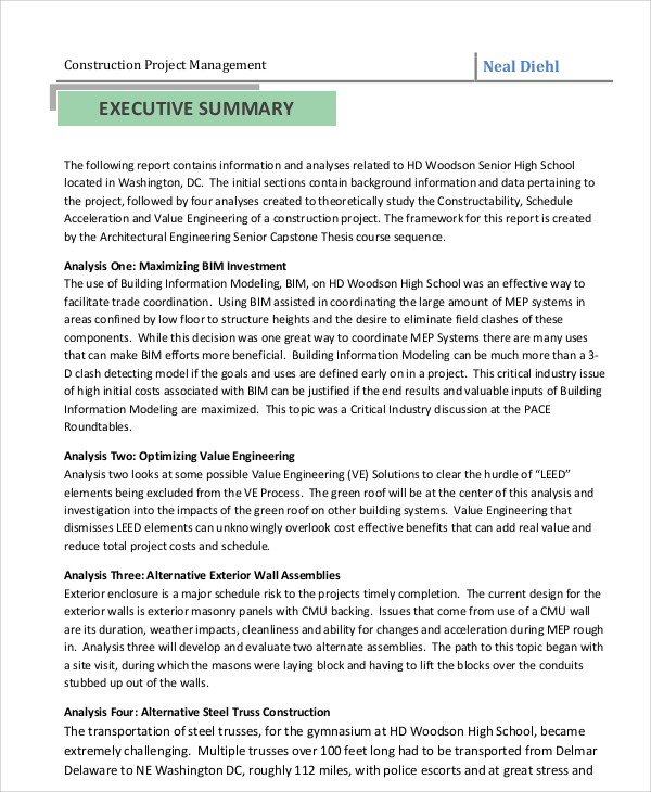 Sample Project Management Report - 6+ Examples In Pdf, Word