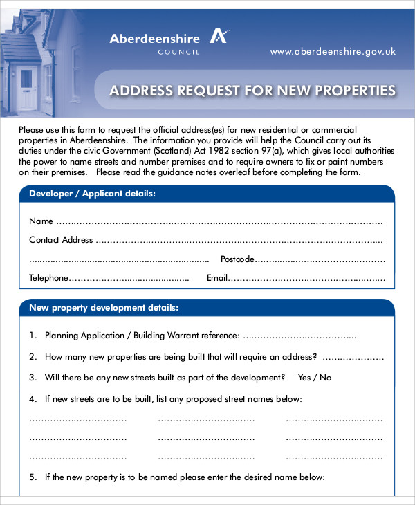 Sample Address Request Form   Examples In Word Pdf