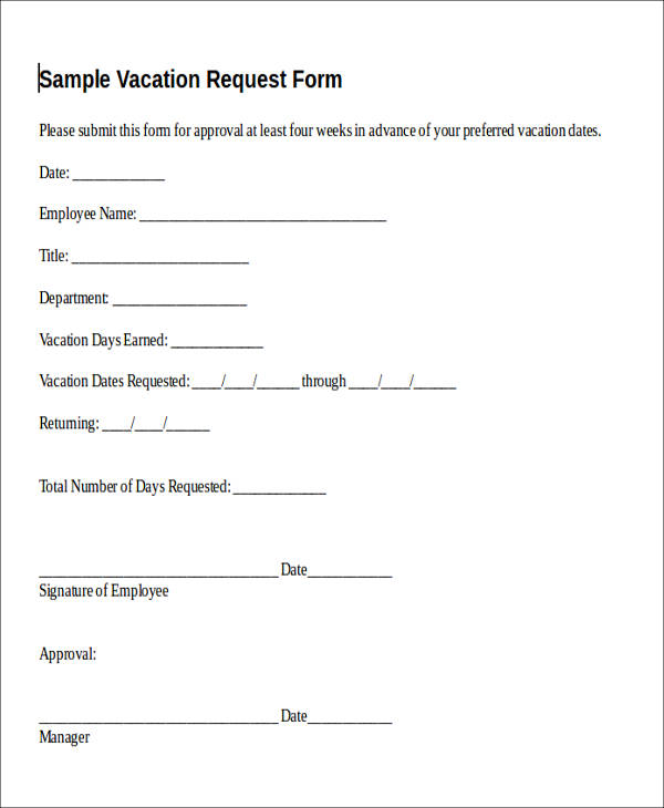 Sample Vacation Request Form  Free Sample Example Format Download