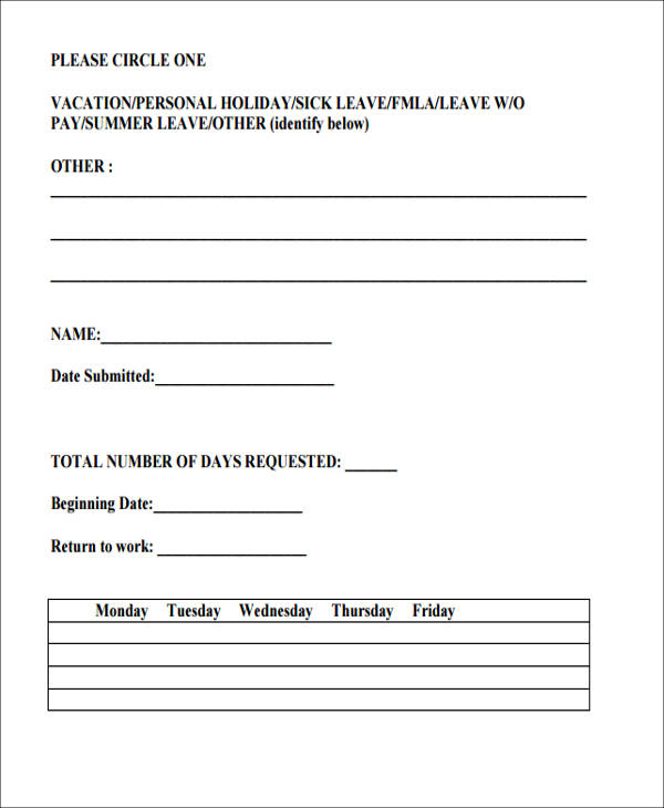 Leave Request Form Template Throughout Example Of Leave Form