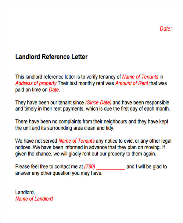Sample Housing Reference Letter - 5+ Examples In Pdf, Word