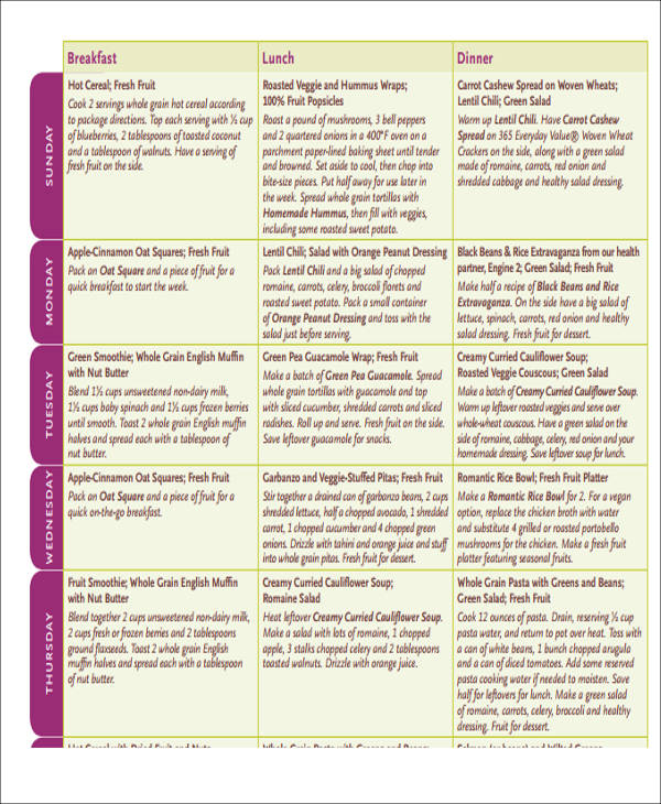 menu plan and shopping list