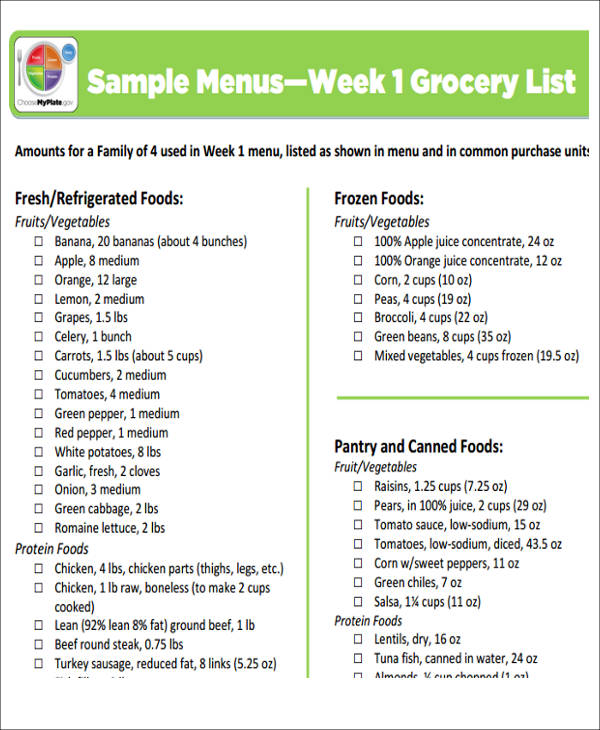 Menu List Sample   Examples In Word Pdf