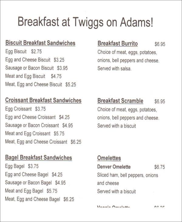 breakfast menu list