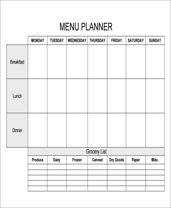 printable menu list
