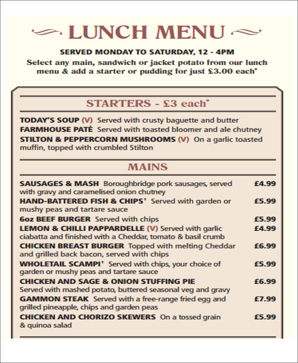 menu list for lunch