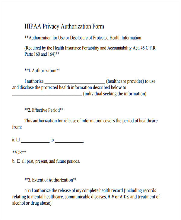 7 Sample Hipaa Compliant Release Forms Sample Templates
