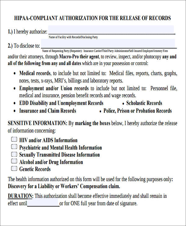 Sample Hipaa Compliant Release Form   Examples In Word Pdf