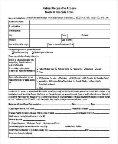 access to medical records request form