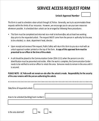 access service request form