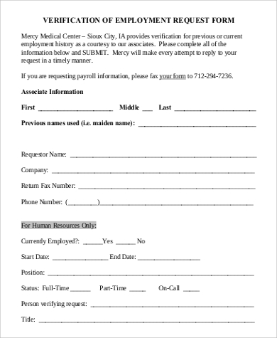 Sample Employment Request Form   Examples In Pdf
