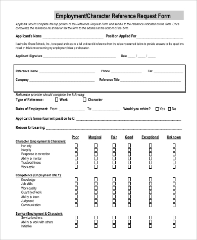 Employment/Character Reference Request Form  Employment Verification Request Form Template
