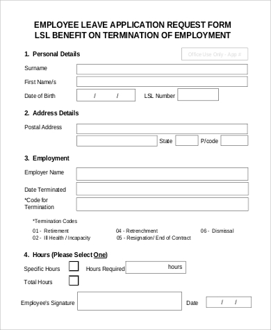 Employment-Leave-Application-Request-Form Basic Job Application Form Pdf on panera bread, pizza hut, dollar tree, printable basic, letter format sample, print out, dunkin donuts,