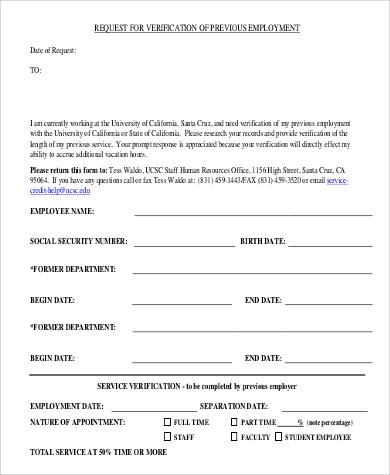 previous employment request form