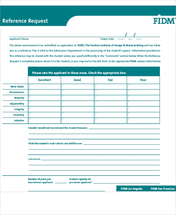 reference information request form