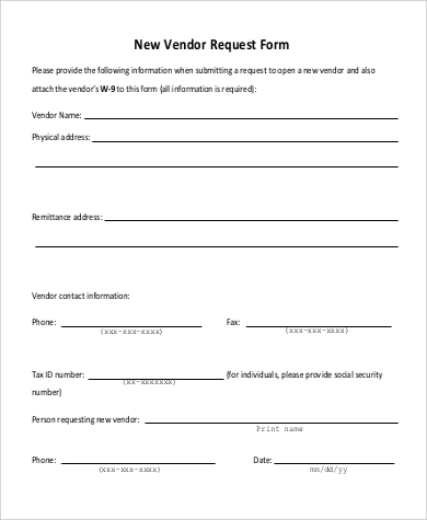 Sample-New-Vendor-Request-Form Vendor Application Form Examples on swgc online, chinese visa, student year, social security, formal job, credit card, passport renewal, teaching job, blank job,