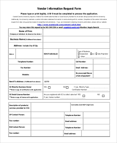 Sample Vendor Request Form   Examples In Word Pdf
