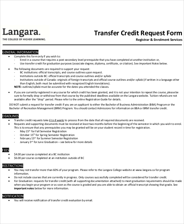 Sample Transfer Credit Request Form  Credit Note Request Form