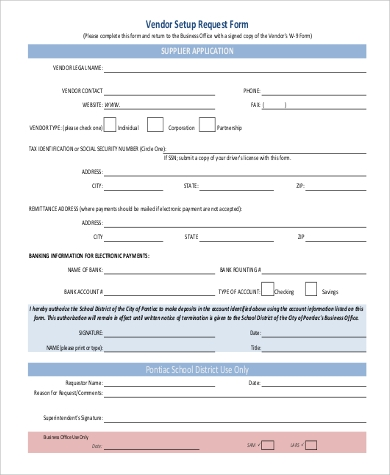 example of a vendor form