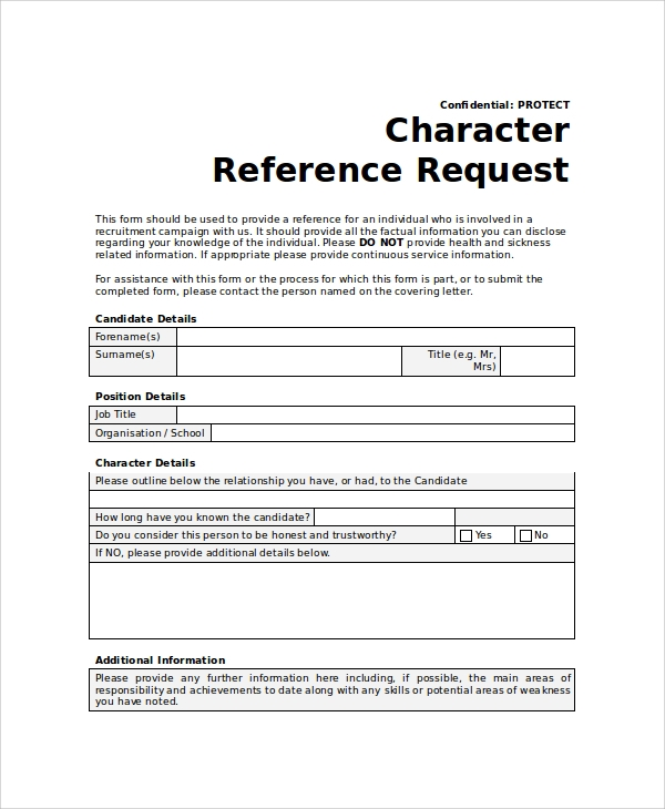 employment reference check form template - 10 sample reference request forms sample templates