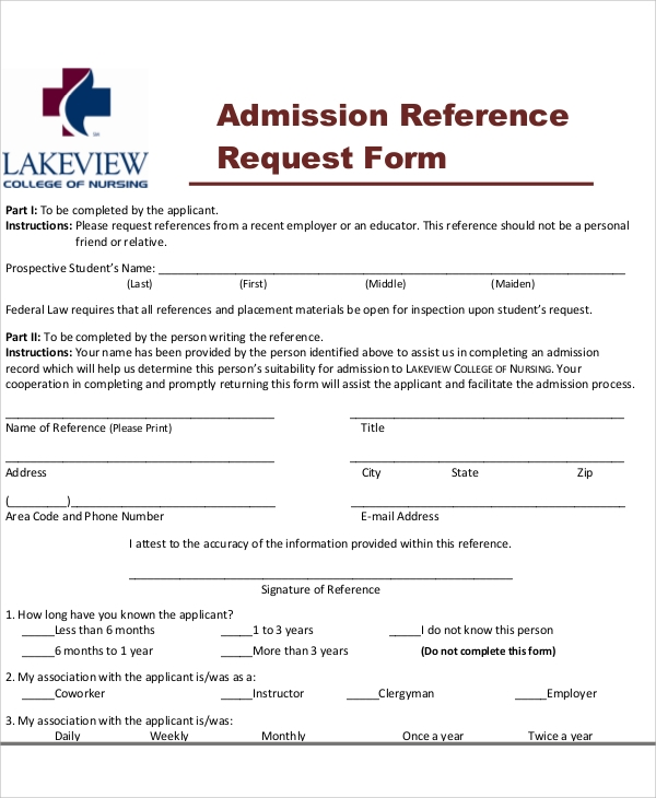 admission reference request form