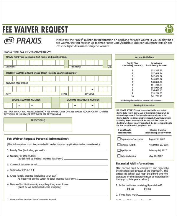 Sample Waiver Request Form - 10+ Examples In Word, Pdf