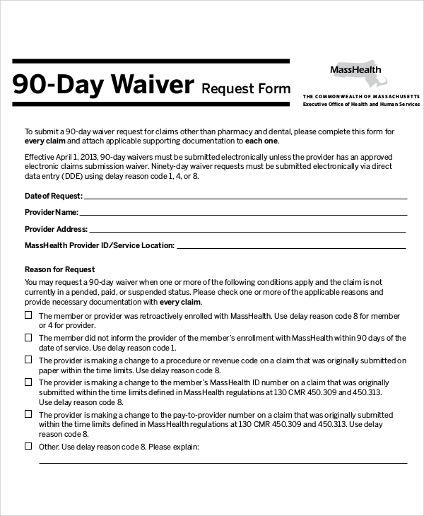 Sample Waiver Request Form   Examples In Word Pdf