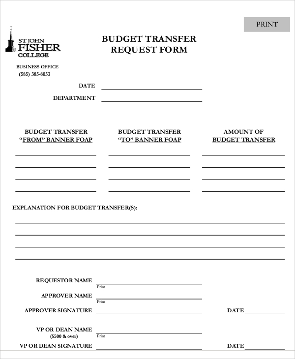 Sample Transfer Request Form   Examples In Word Pdf