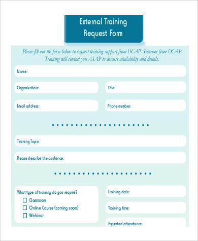 external training request form