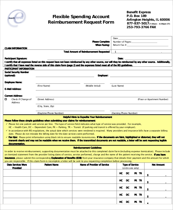 11 Sample Reimbursement Request Form Examples In Word Pdf
