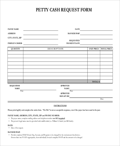 Sample Petty Cash Request Form   Examples In Word Pdf